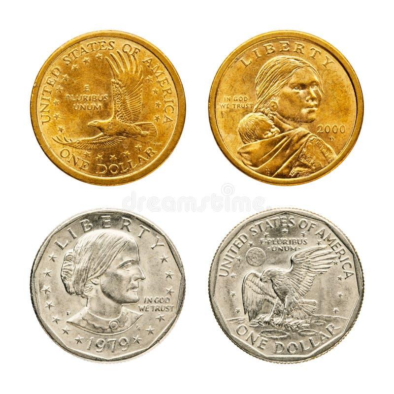 Gouden & zilveren dollarmuntstuk royalty-vrije stock foto's