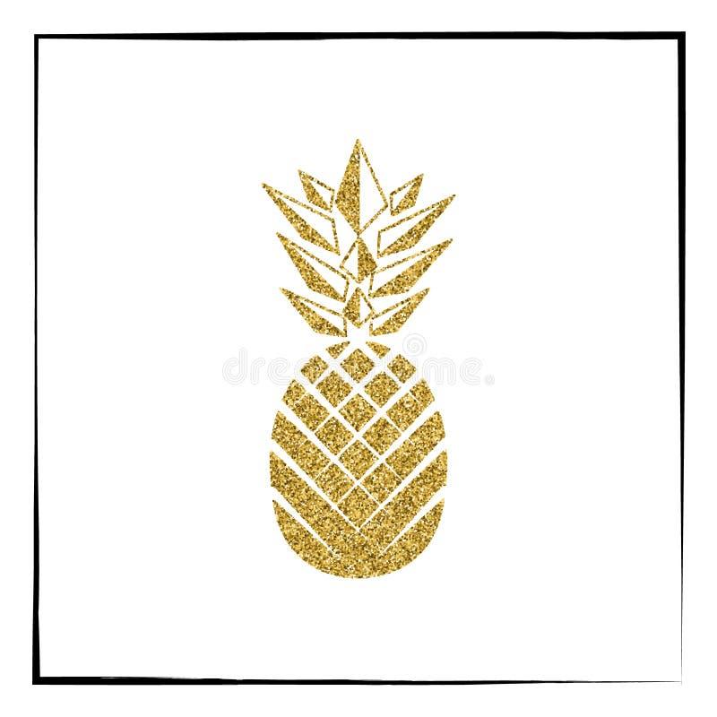 Gouden Ananasfruit Vector illustratie vector illustratie