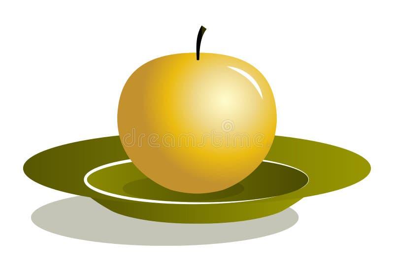 Gouden appel op plaat royalty-vrije illustratie