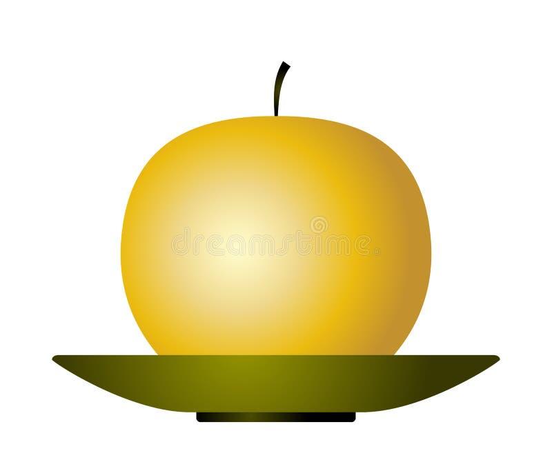 Gouden appel op plaat vector illustratie
