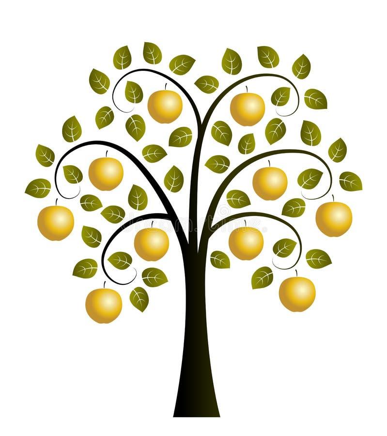 Gouden appelboom vector illustratie