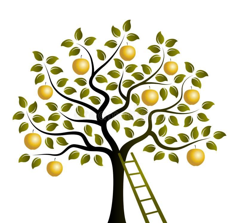 Gouden appelboom en ladder royalty-vrije illustratie