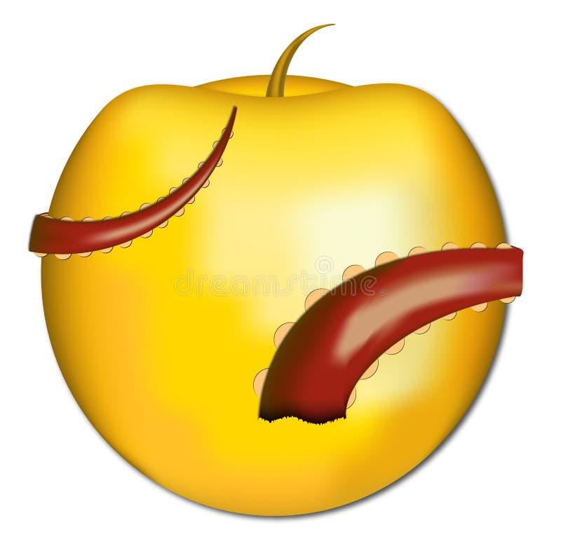 Gouden Apple met Tentakels vector illustratie