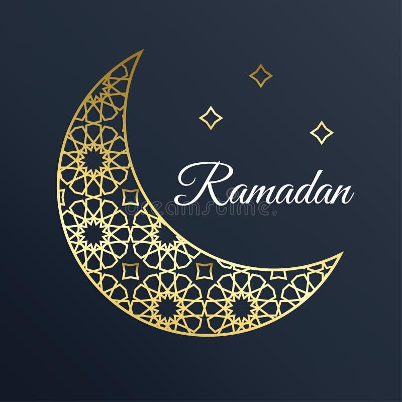 Gouden Arabische siermaan met sterren Ramadankaart
