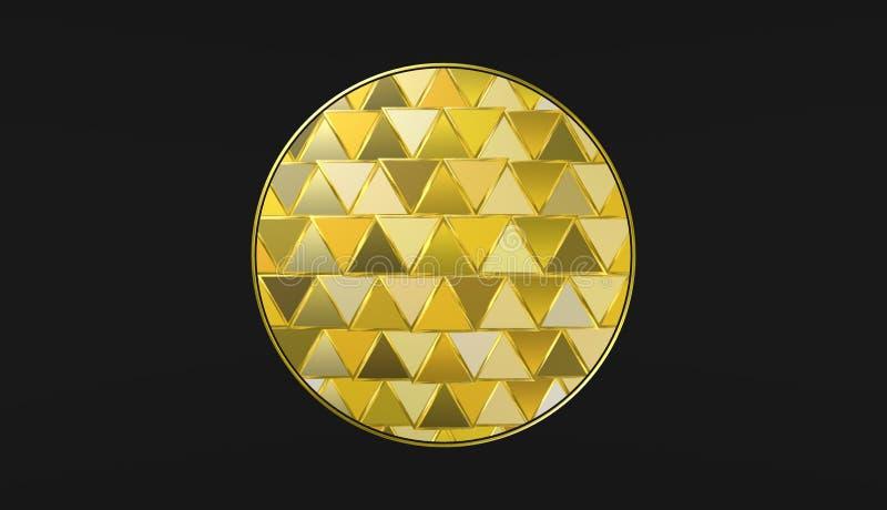 Gouden bal op zwarte achtergrond, mooi behang, illustratie stock illustratie