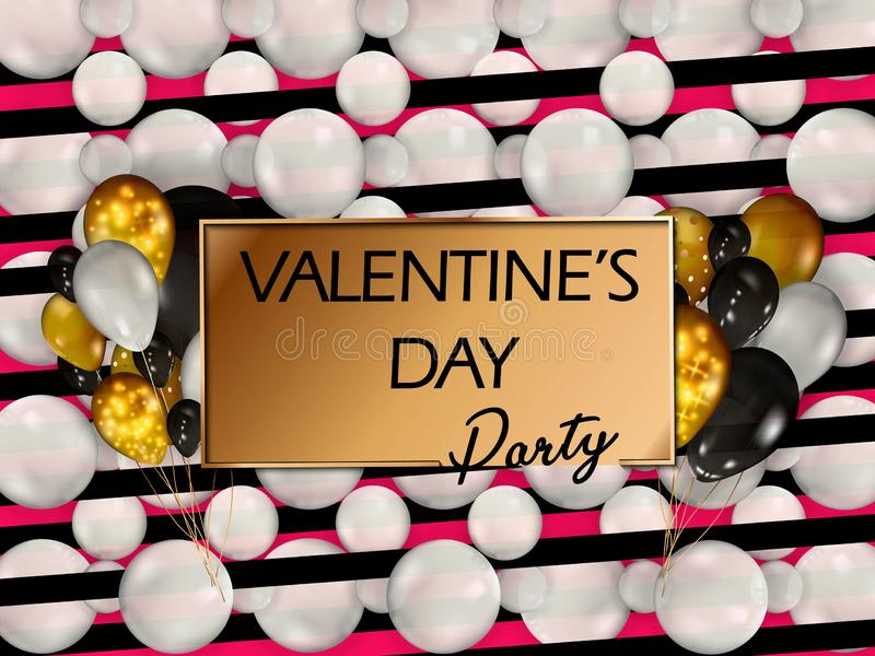 Gouden ballons met confettien Gelukkige valentijnskaartendag Vector De gelukkige Dag van Valentine s Het Ontwerp van de groetkaar royalty-vrije stock fotografie
