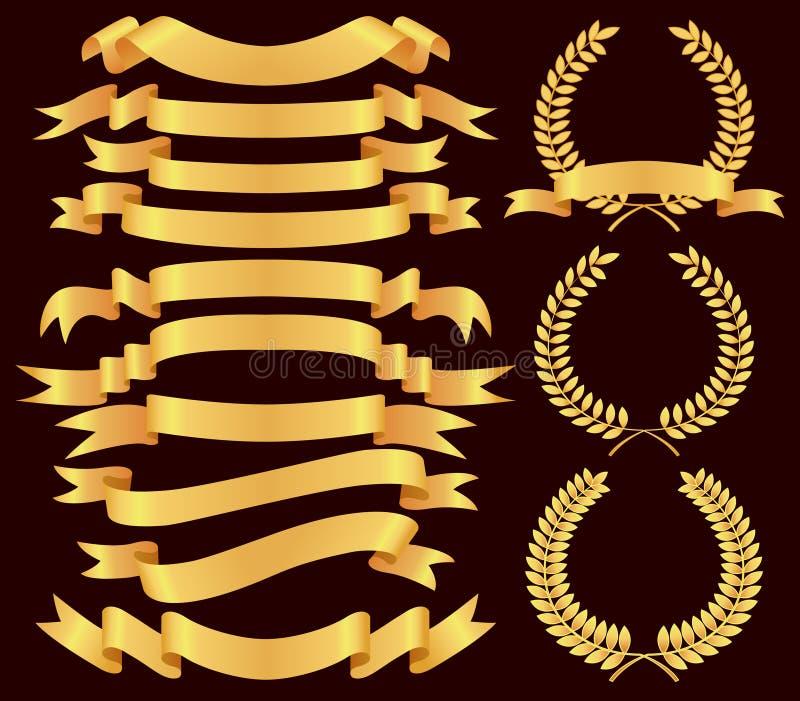 Gouden bannerreeks stock illustratie
