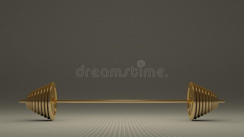 Gouden barbell stock illustratie