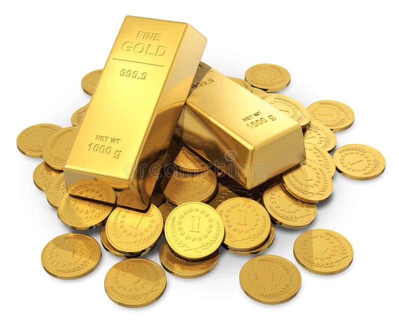 Gouden baren en muntstukken royalty-vrije illustratie