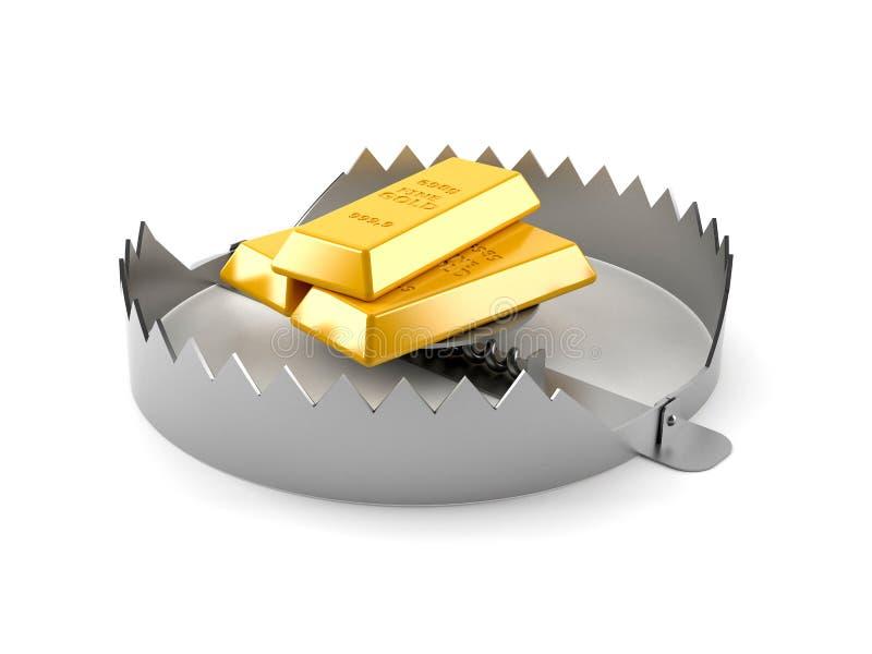 Gouden baren met beerval royalty-vrije illustratie