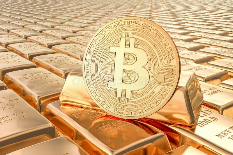 Gouden baren met 3D bitcoin, royalty-vrije illustratie