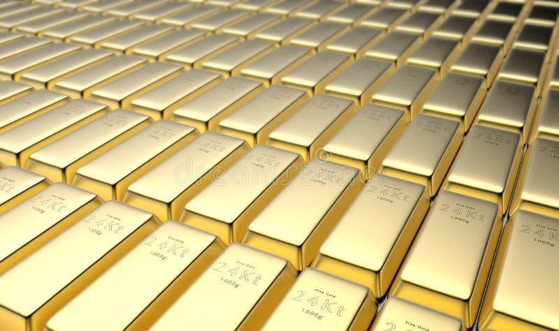 24 gouden baren van Karat in een kluis stock illustratie
