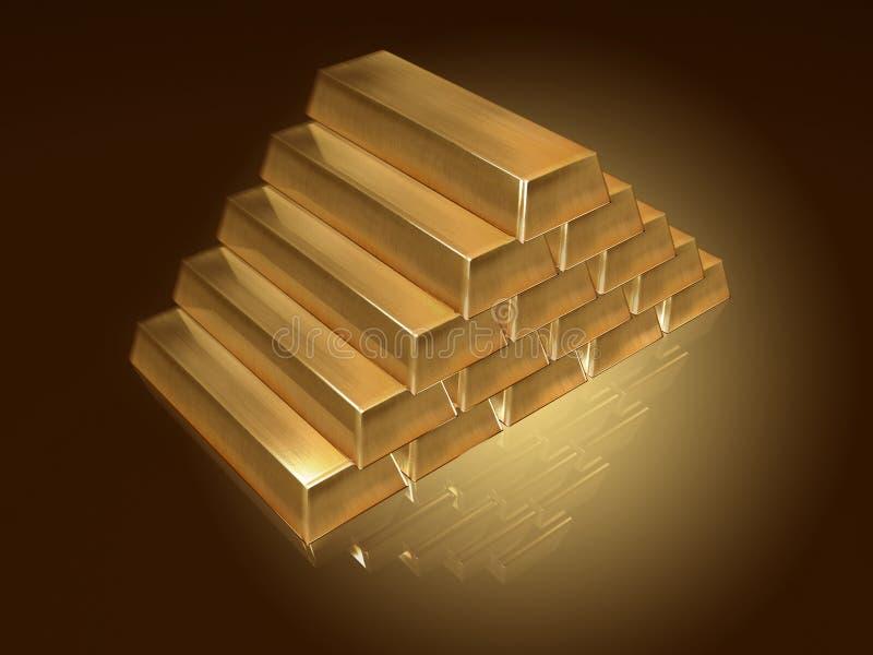 Gouden barenpiramide stock illustratie