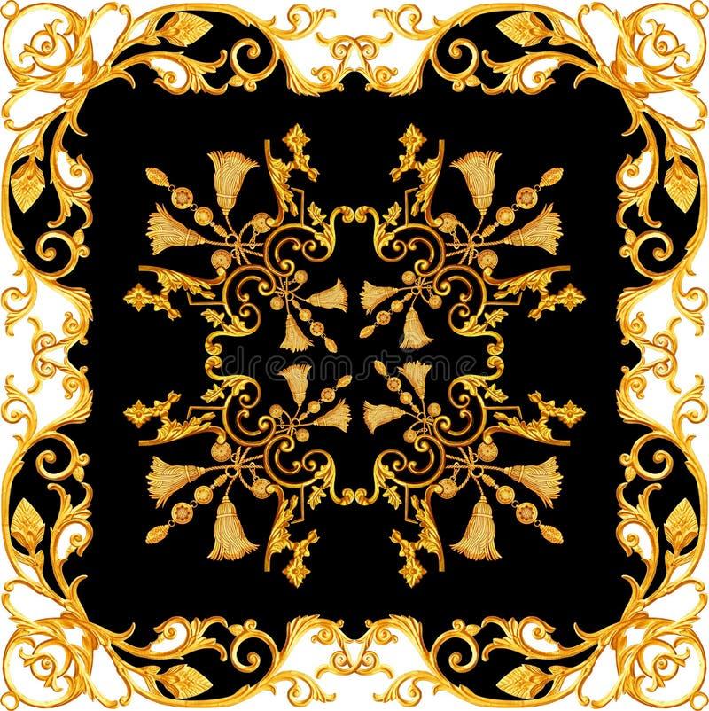 Gouden barok in de uitstekende gouden bloemenontwerpen van ornamentelementen stock illustratie