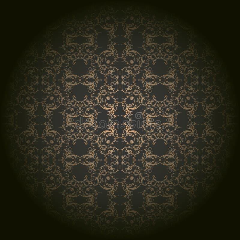 Gouden barok geïsoleerd op zwarte achtergrond met ronde gradiënt royalty-vrije illustratie