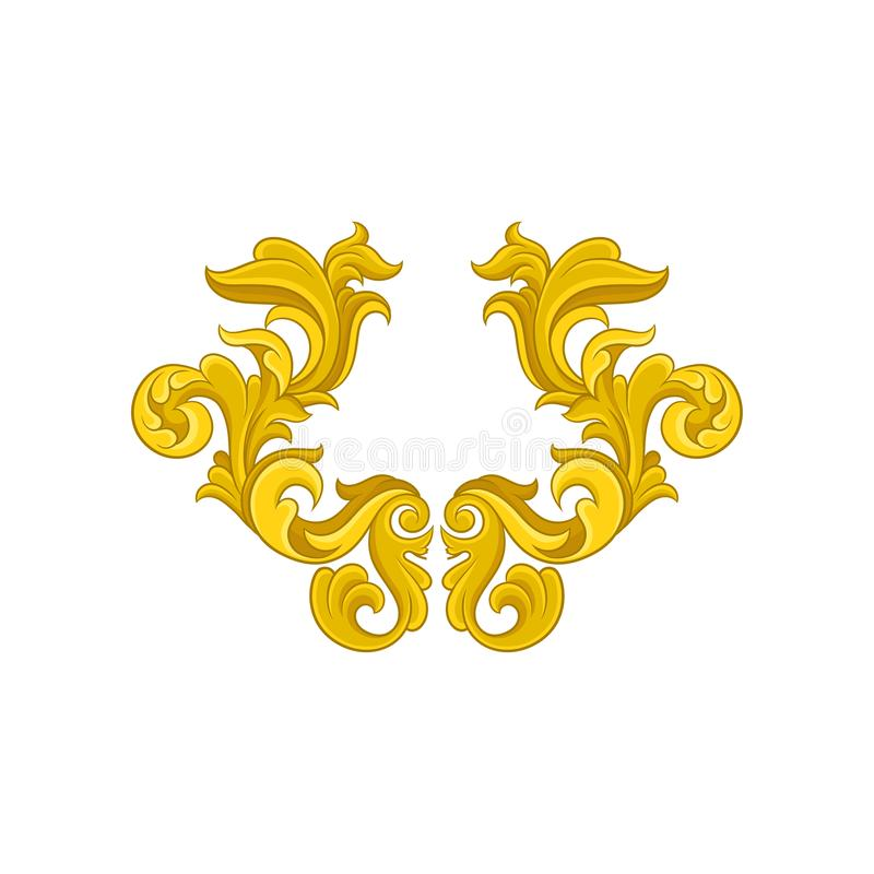Gouden barok ornament Luxueus patroon in antieke stijl Elegante bloemenarabesque Decoratief vectorelement stock illustratie