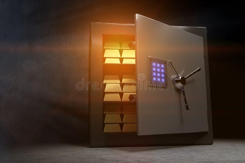 Gouden bars in een kluis met een open deur en een blauwachtig gloeiend combinatieslot stock illustratie