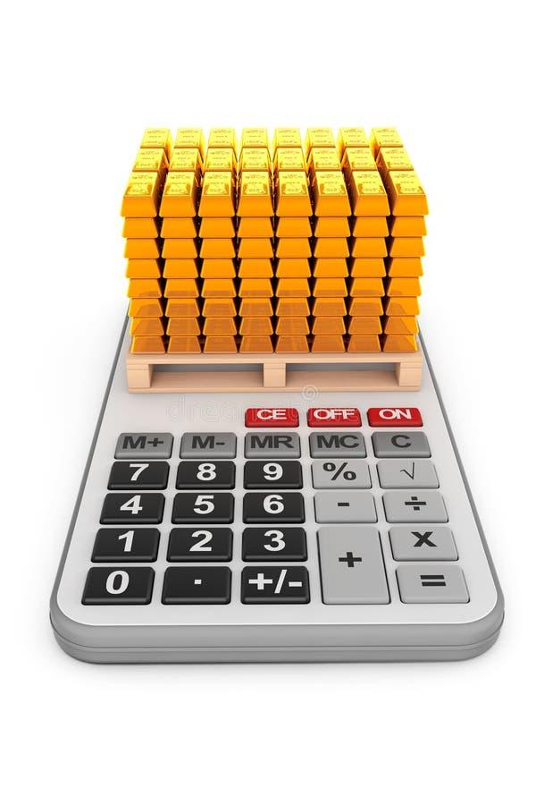 Gouden Bars over Calculator het 3d teruggeven vector illustratie
