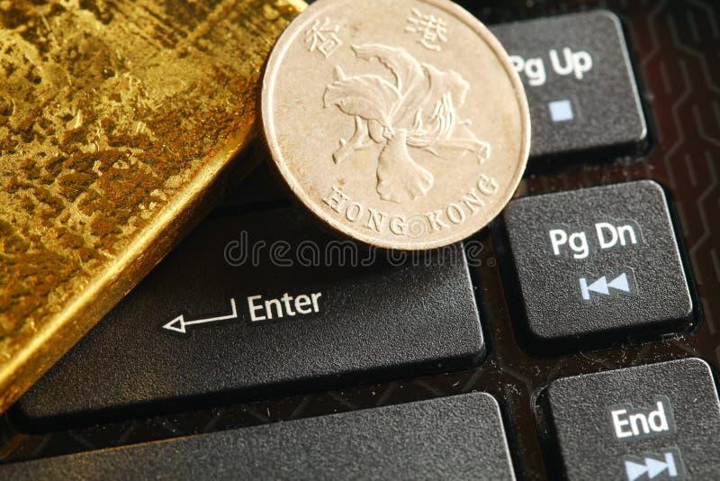 Gouden barscène stock afbeelding