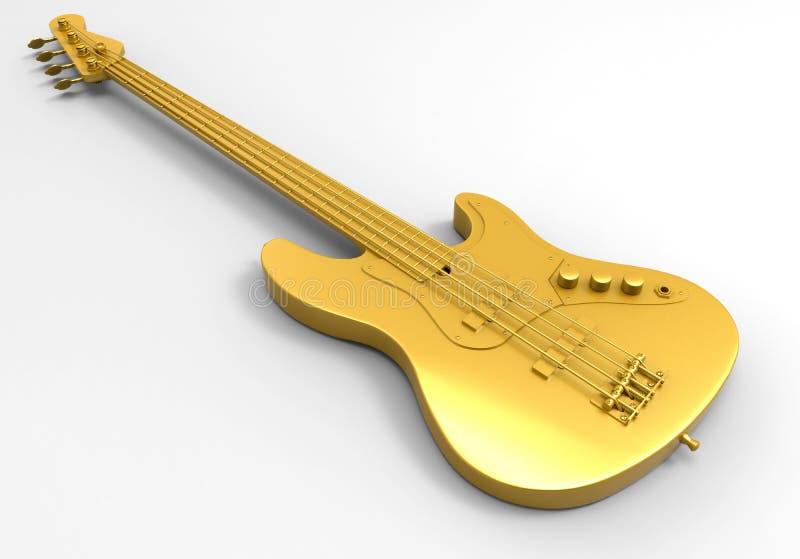 Gouden basgitaar stock illustratie