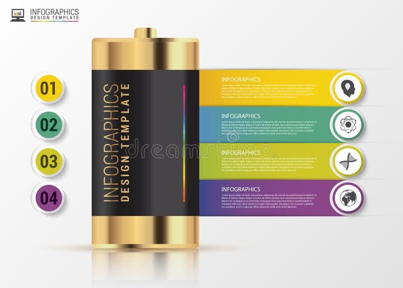 Gouden batterij Metaball kleurrijk rond diagram met bars en tekst Modern vectorontwerpmalplaatje Vector vector illustratie