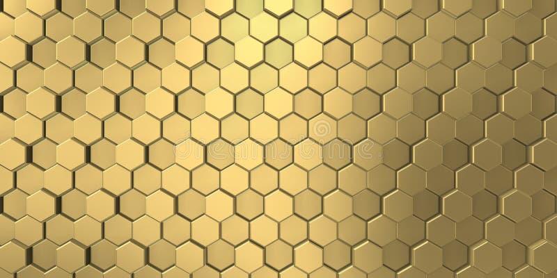 Gouden beeld van decoratieve die metaalhulp door de unie van zeshoeken wordt gevormd stock illustratie