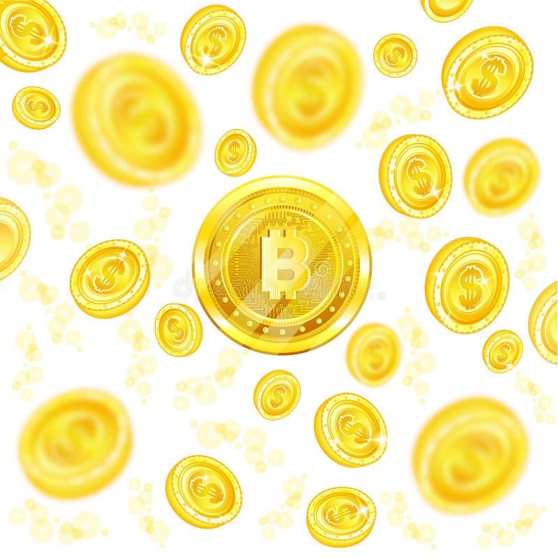 Gouden beetjemuntstuk in het centrum van vliegende muntstukken met velddiepteeffect royalty-vrije illustratie