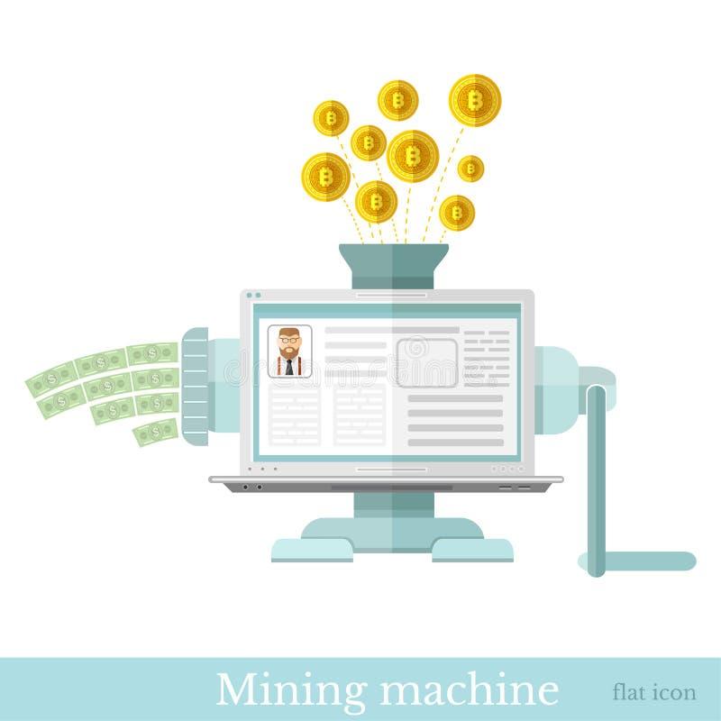 Gouden beetjemuntstukken die binnen aan mijnbouwmachine en bankbiljetten uit vliegen Vlak bedrijfspictogram op wit stock illustratie