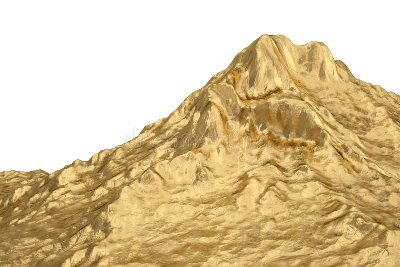 Gouden berg 3D Illustratie royalty-vrije stock fotografie