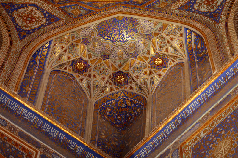 Gouden binnenland van Tilya Kori Madrasah royalty-vrije stock foto's