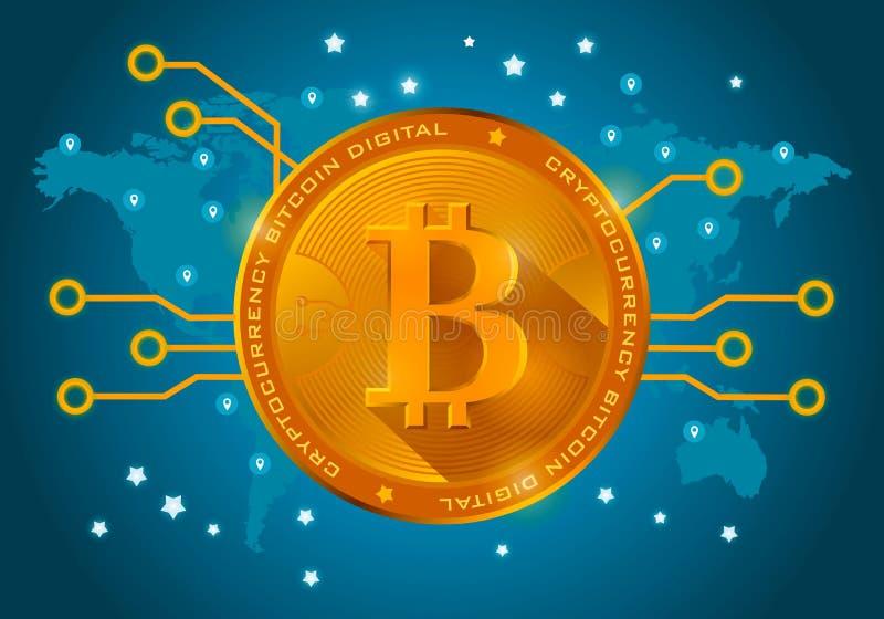 Gouden bitcoin digitale munt op een blauwe achtergrond van de wereld royalty-vrije illustratie
