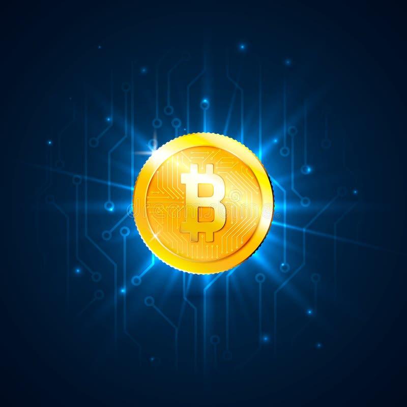 Gouden bitcoin digitale munt op kringsraad Futuristisch van technologie digitaal geld of cryptocurrency concept Vector illustrat vector illustratie