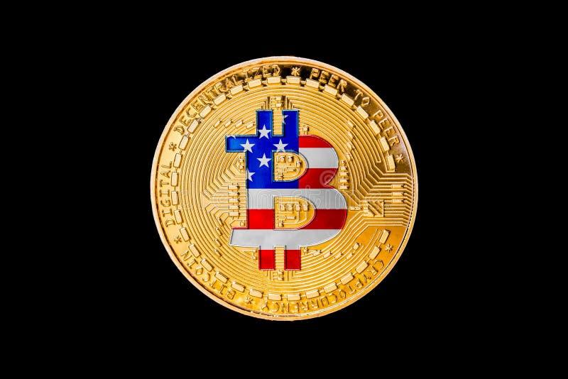 Gouden bitcoin met de vlag van de Verenigde Staten van Amerika in cen stock afbeeldingen
