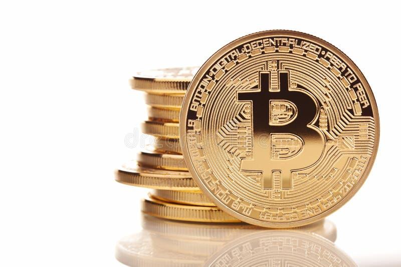 Gouden Bitcoin-muntstuk stock foto's