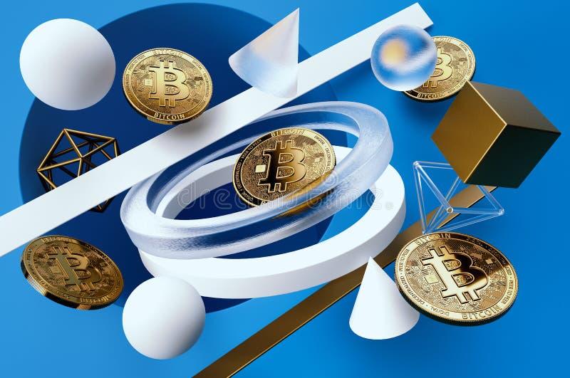 Gouden Bitcoin-muntstukken die onder geometrische vormen op lichtblauwe achtergrond drijven stock illustratie