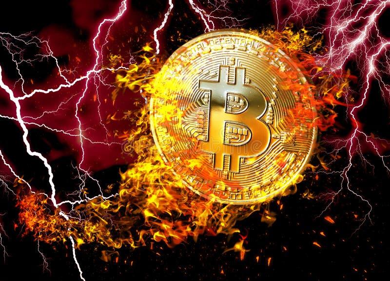 Gouden bitcoinmuntstuk die in brandvlam vliegen De brandende die crypto illustratie van het munt bitcoin symbool op zwarte achter vector illustratie