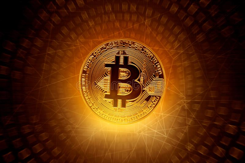 Gouden bitcoinmuntstuk op technologieachtergrond royalty-vrije stock afbeelding