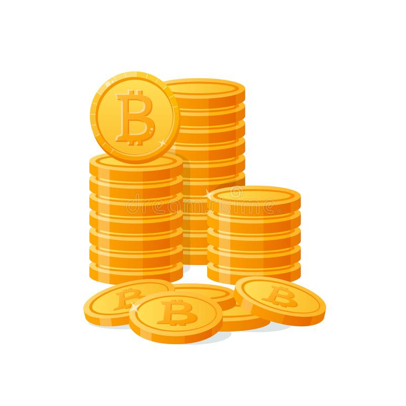 Gouden bitcoins digitaal geld van de stapelberg Cryptocurrencymuntstukken, virtuele munt, kapitalisatie Geïsoleerdh pictogram stock illustratie
