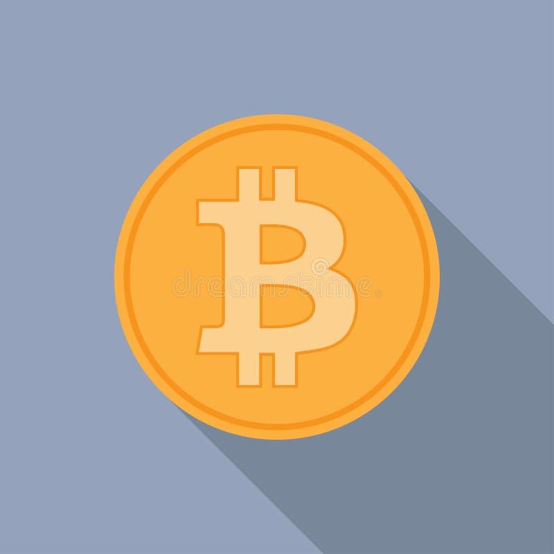 Gouden bitcoinspictogram voor cryptocurrency, virtuele munt, digitaal geld, ecash stock illustratie