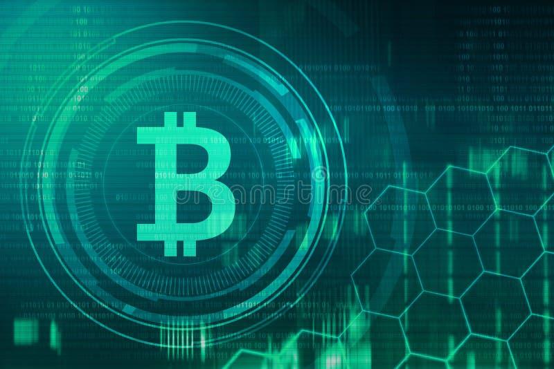 Gouden bitcointeken en embleem stock foto