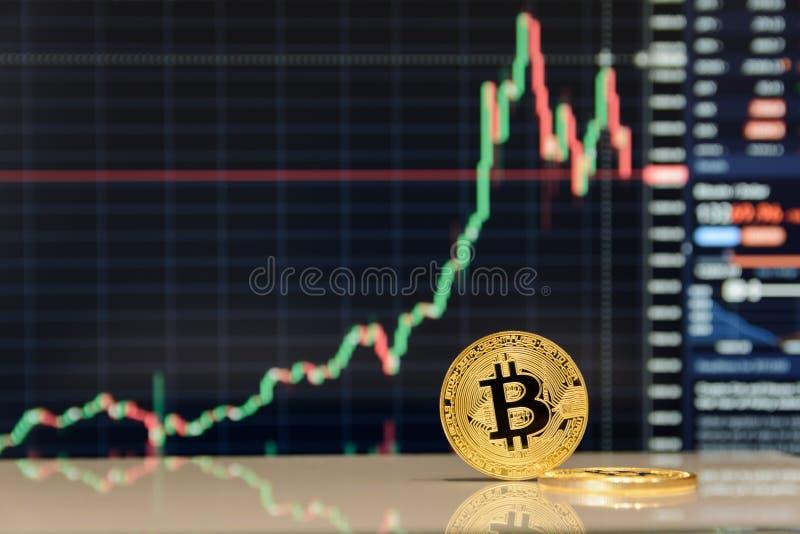 Gouden bitcoinverblijf op achtergrond van grafiek royalty-vrije stock fotografie