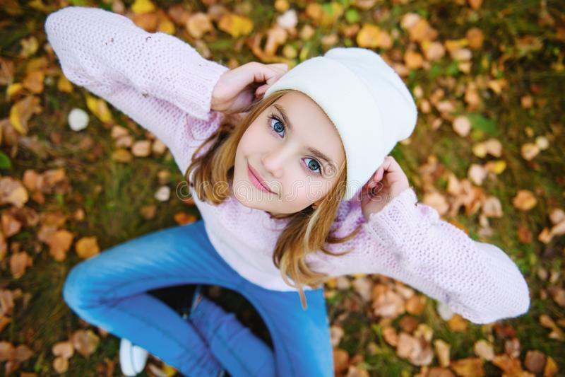Gouden bladeren in de herfst royalty-vrije stock foto's