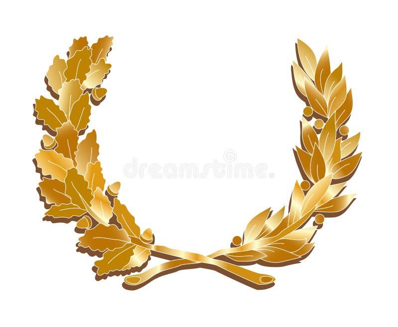 Gouden bladerenkroon stock illustratie
