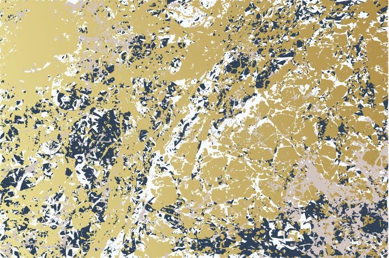 Gouden-blauwe marmeren textuurachtergrond Gouden blauwe vectortextuurillustratie royalty-vrije illustratie