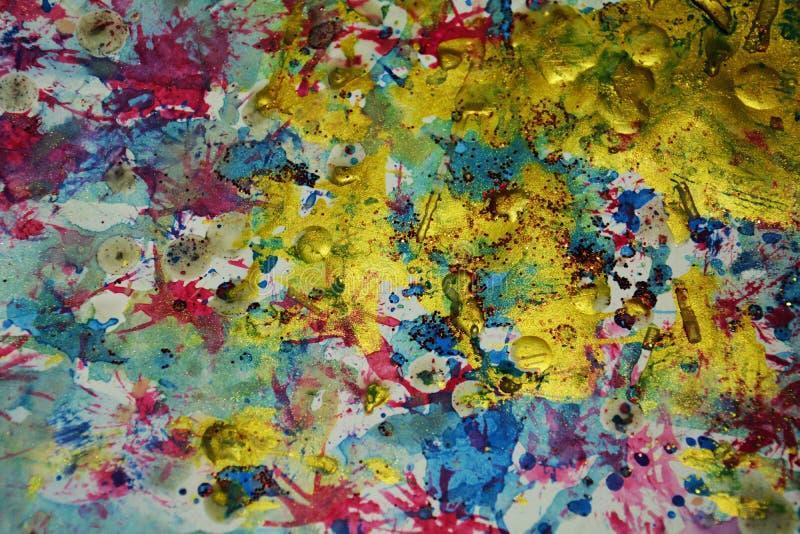 Gouden blauwe was creatieve plonsen, contrasten, de creatieve achtergrond van de verfwaterverf royalty-vrije stock foto