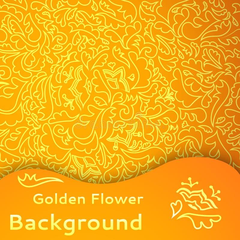 Gouden Bloem Naadloze Achtergrond. Royalty-vrije Stock Foto