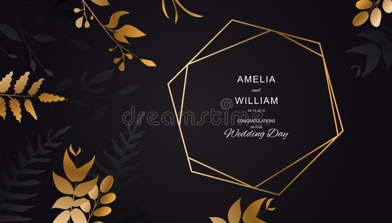 Gouden Bloem op zwarte achtergrond Bladgoud met lijnen Bloemenbrochure, kaart, dekkingsvector stock illustratie