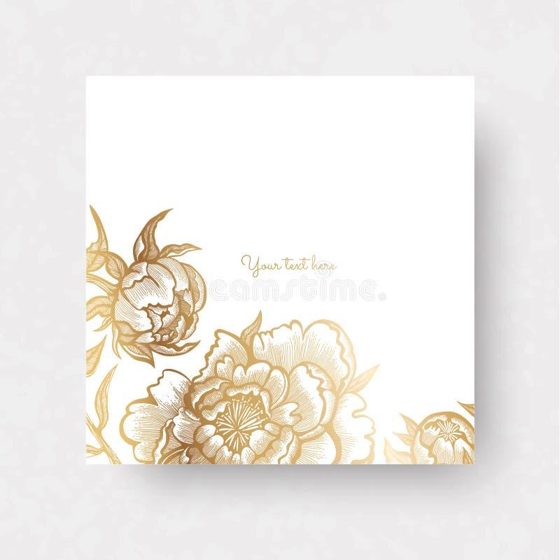 Gouden bloemen en bladeren van pioenen Overladen decor voor uitnodigingen, de kaarten van de huwelijksgroet, certificaat, etikett stock illustratie