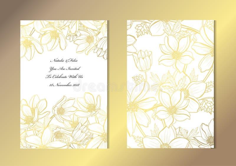 Gouden bloemen geplaatste kaarten stock illustratie