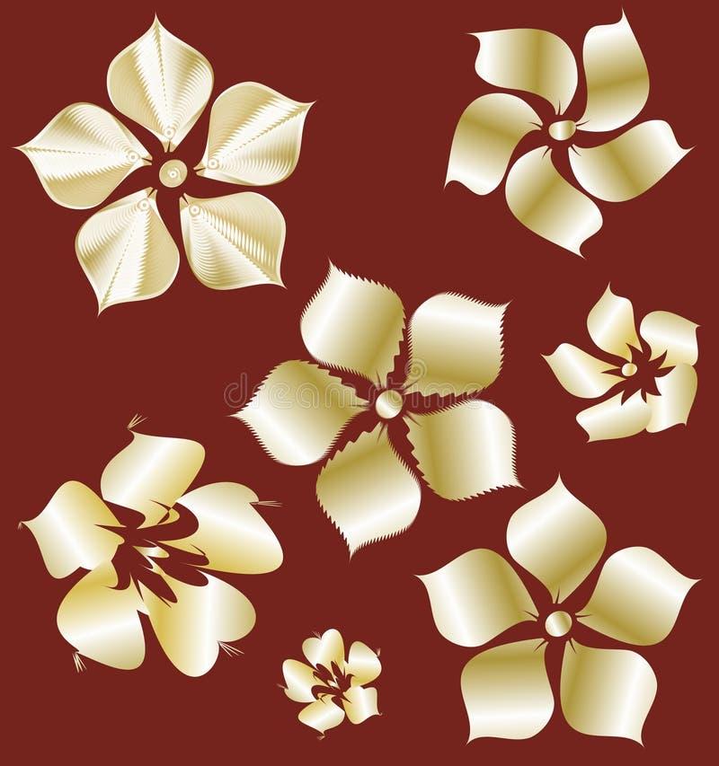 Gouden bloemen met gradiënt - element voor ontwerp stock fotografie
